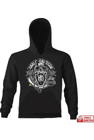 Art T-Shirt Harley Mouth Logo Kapşonlu Sweatshirt