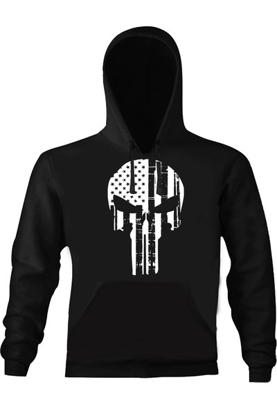 Art T-Shirt Punisher Star Kapşonlu Sweatshirt