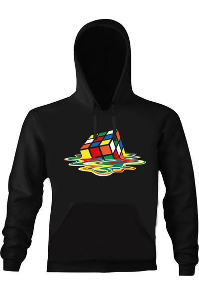 Art T-Shirt Rubik Küp Kapşonlu Sweatshirt