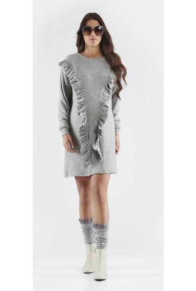 Nora Volanlı Hamile Kadın Elbise - Gri