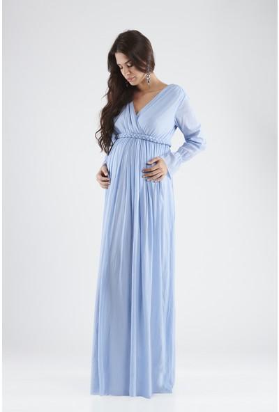 Valentina Uzun Kol Hamile Kadın Elbise - Mavi