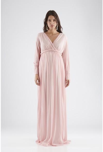 Valentina Uzun Kol Hamile Kadın Elbise - Pembe