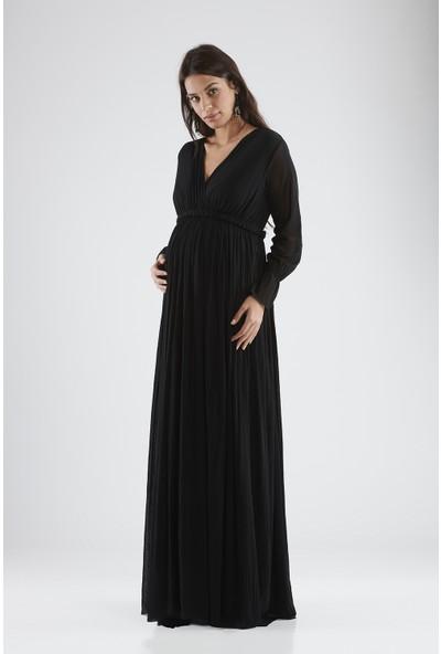 Valentina Uzun Kol Hamile Kadın Elbise - Siyah
