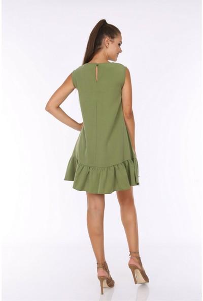 Her Mod'a Bir Moda Kolsuz Fırfırlı Elbise