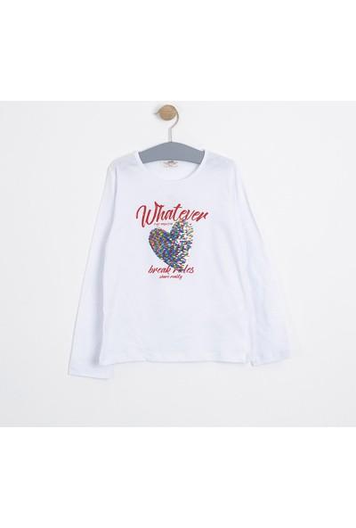 Soobe Kız Çocuk Uzun Kol T-shirt Kırık Beyaz