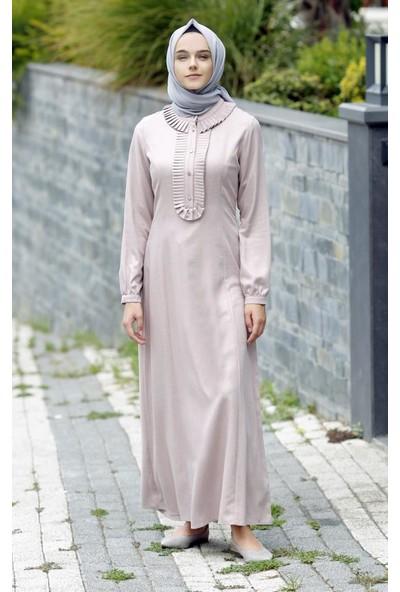 Abacı Pembe-Beyaz Simli Elbise 12058-P55