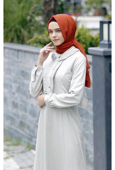Abacı Haki-Beyaz Simli Elbise 12058-P57