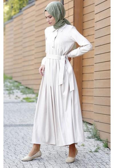 Abacı Bej Elbise El12045-Y13