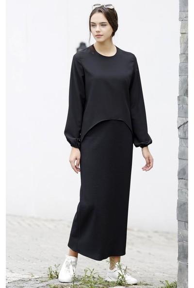 Abacı Siyah Krep Gömlek 12555-R24