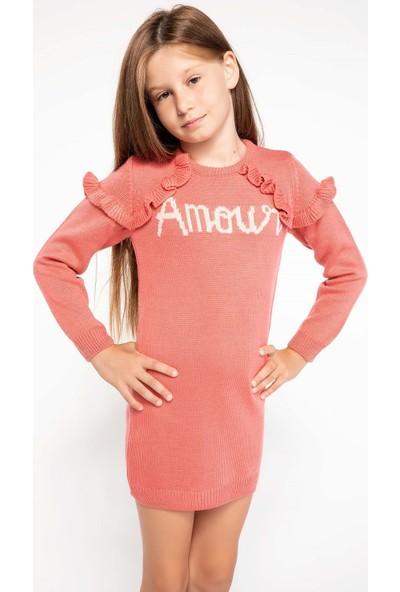 DeFacto Omzu Fırfır Detaylı Yazı Baskılı Triko Elbise
