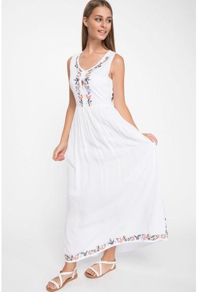 DeFacto Desen Detaylı Uzun Elbise