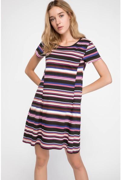 DeFacto Çizgili Basic Elbise
