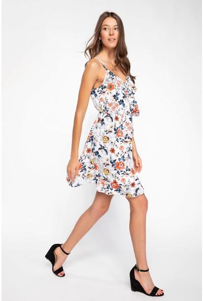 DeFacto Floral Desenli Askılı Elbise