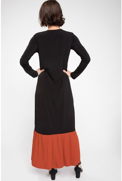 DeFacto Etek Ucu Volan Detaylı Uzun Elbise
