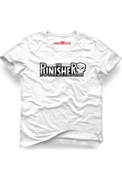 Tshirthane The Punisher Logo1 Beyaz Erkek T-Shirt