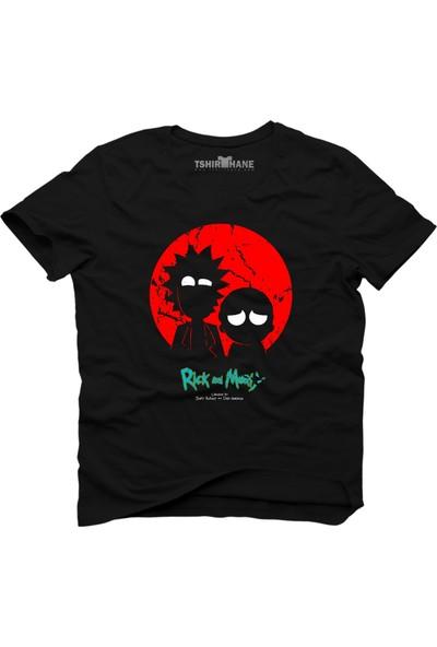 Tshirthane Rick And Morty Night Siyah Erkek T-Shirt