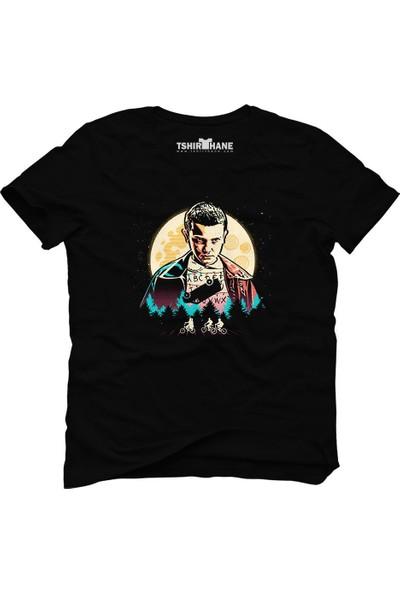 Tshirthane Stranger Things Eleven Demogorgon A B C Siyah Erkek T-Shirt