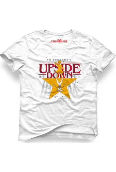 Tshirthane Stranger Things The Upside Down Star Beyaz Erkek T-Shirt