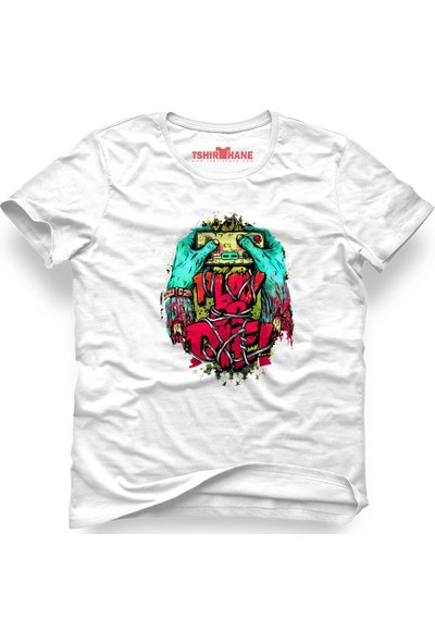 Tshirthane Zombie Play Or Die Beyaz Erkek T-Shirt