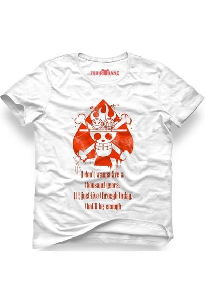 Tshirthane One Piece Monkey D. Luffy Manga Anime Beyaz Erkek T-Shirt