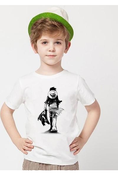 Tshirthane One Piece Beyaz Erkek T-Shirt
