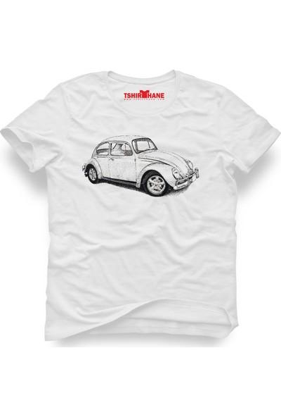 Tshirthane Volkswagen Beetle Vw Vosvos Beyaz Erkek T-Shirt