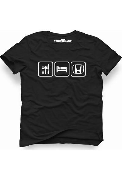Tshirthane Honda Eat Sleep Honda Siyah Erkek T-Shirt