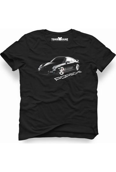 Tshirthane Porsche Logo Siyah Erkek T-Shirt