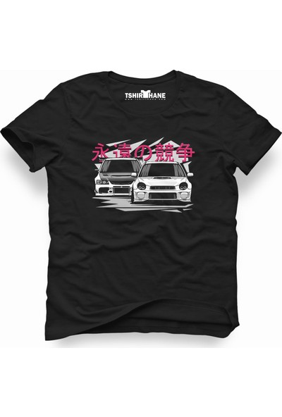 Tshirthane Subaru Vs Evo Siyah Erkek T-Shirt