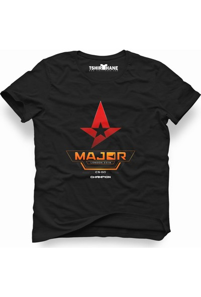 Tshirthane Csgo Cs Go Major Siyah Erkek T-Shirt