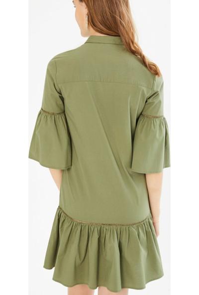 Xint Önden Düğme Kapamalı Piliseli Elbise