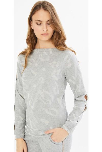Xint Kayık Yaka İnci Detaylı Sweatshirt