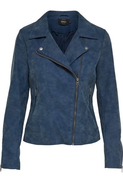 Only Deri Ceket Onlsaga Faux Leather Biker 15156493-BLU