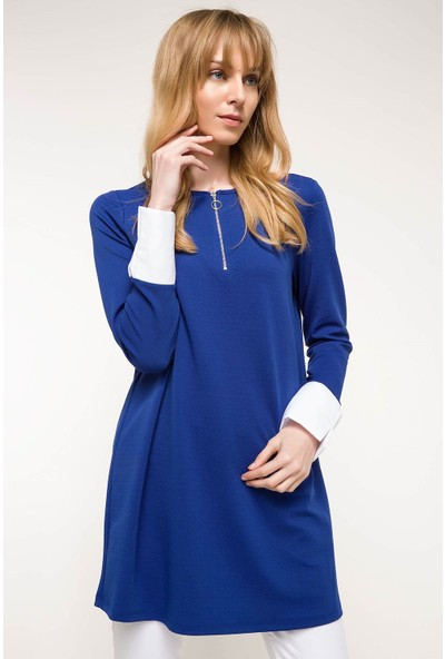 DeFacto Kadın Uzun Kollu Fermuar Detaylı Tunik