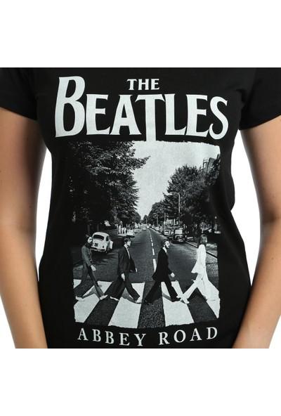 Bant Giyim Beatles Siyah Kadın T-Shirt