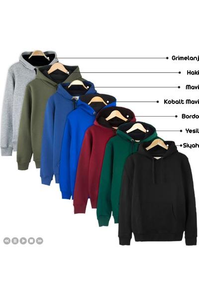 Bant Giyim 7 Renk Kışlık Kalın Kapüşonlu Erkek Sweatshirt Hoodie