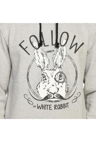 Bant Giyim White Rabbit Gri Kapüşonlu Erkek Sweatshirt Hoodie