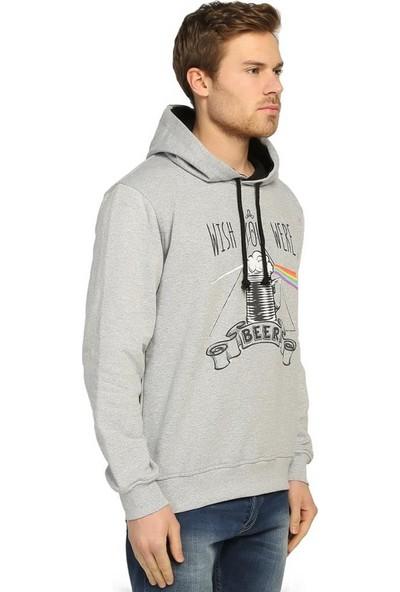 Bant Giyim Pink Floyd Gri Kapüşonlu Erkek Sweatshirt Hoodie