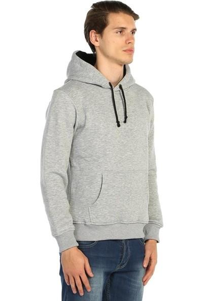 Bant Giyim Gri Kışlık Kalın Kapüşonlu Erkek Sweatshirt Hoodie