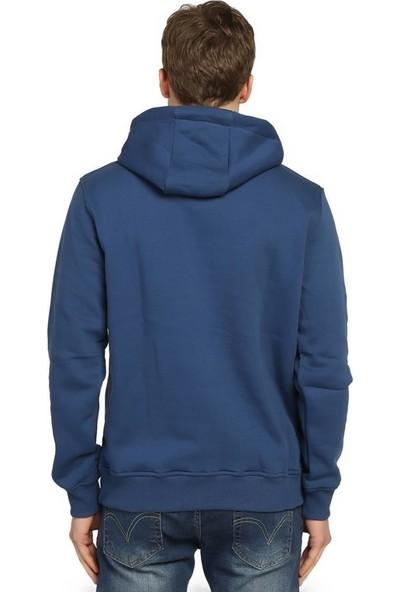 Bant Giyim Mavi Kışlık Kalın Kapüşonlu Erkek Sweatshirt Hoodie