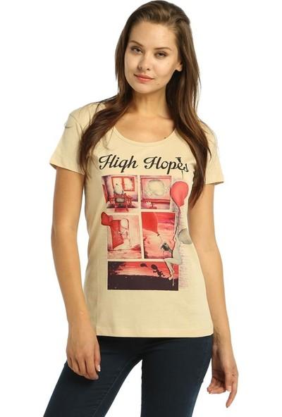 Bant Giyim High Hopes Krem Kadın T-Shirt