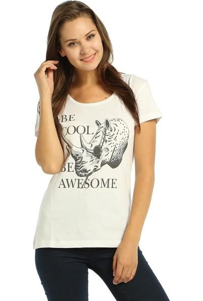 Bant Giyim Be Cool Beyaz Kadın T-Shirt