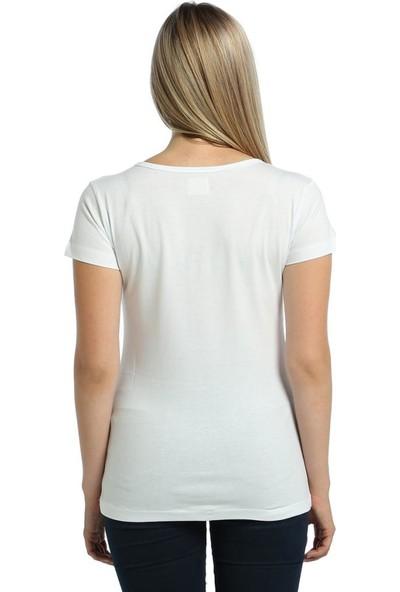 Bant Giyim Rainbow Beyaz Kadın T-Shirt