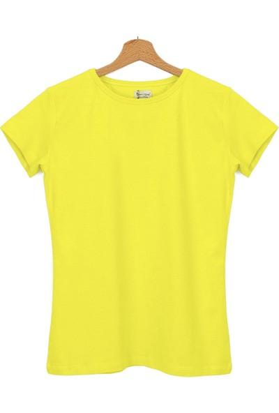 Bant Giyim Dar Kesim Bisiklet Yaka Sarı Kadın T-Shirt