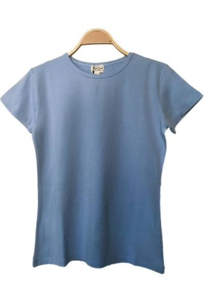 Bant Giyim Dar Kesim Bisiklet Yaka Mavi Kadın T-Shirt