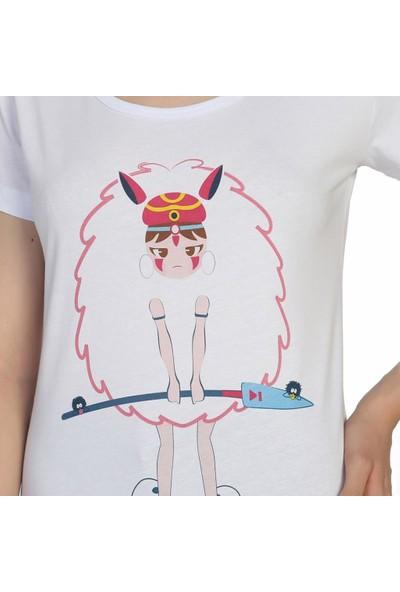 Bant Giyim Princess Mononoke Beyaz Kadın T-Shirt