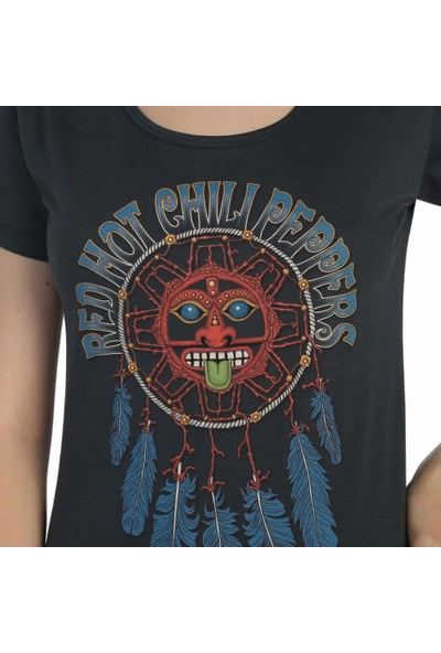 Bant Giyim Red Hot Chili Peppers Düşkapanı Füme Kadın T-Shirt