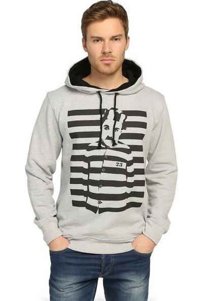 Bant Giyim Charlie Chaplin Gri Kapüşonlu Erkek Sweatshirt Hoodie