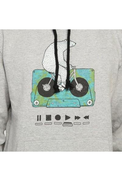 Bant Giyim Work Hard Play Hard Gri Kapüşonlu Erkek Sweatshirt