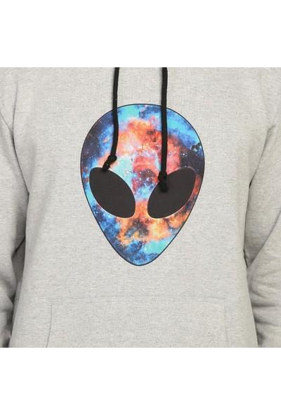 Bant Giyim Alien Cosmos Gri Kapüşonlu Erkek Sweatshirt Hoodie